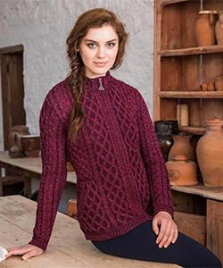 Шерстяная женская кофта на молнии Z4689 от Aran Crafts